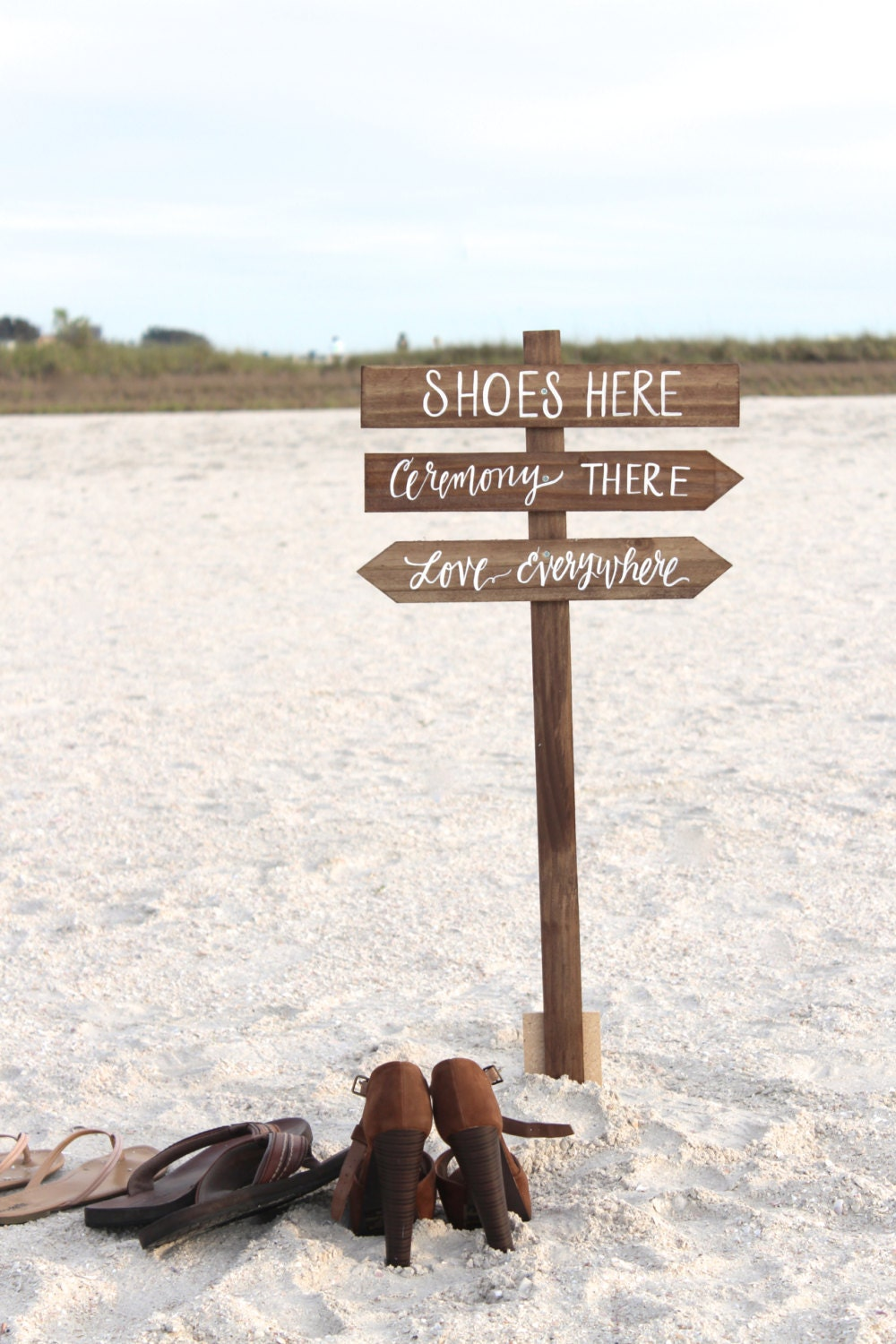 Shoes Here Vows There Love Everywhere Sign, 3 Signs, Piece Set, Rustic Wedding Signs, 3 Beach Wedding Signs, Beach Weddings, Outdoor Directional Sign 972864