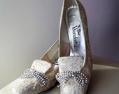 Marie Antionette Style Lace Design Shoes Bridal Shoes Flat Bridal Shoes Loafers Womens Slippers Bows Sparkly Shoes Silver Wedding Shoes