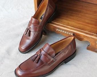 106d84647b1 SAVE NOW 50% OFF Beautiful Brown Leather Tassel Slip on Loafer Men Shoe  handmade in Spain by Delta Handmade in Spain