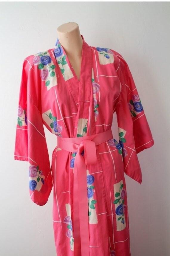 1940s Kimono Robe Long Bath Robe Honeymoon Lingeri