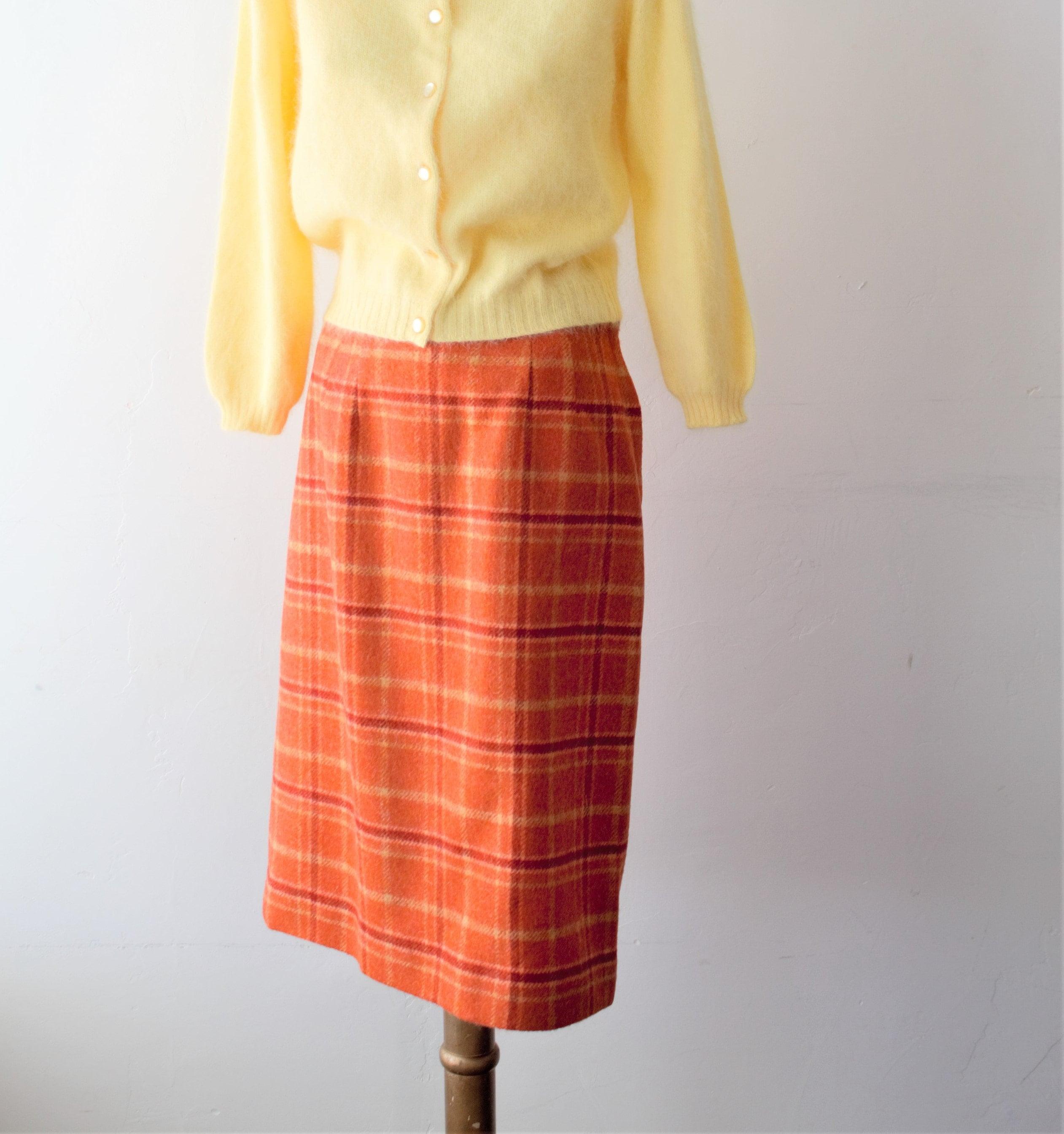 Vintage Scarf Styles -1920s to 1960s Save 50 Now Plaid Skirt Burnt Orange Dress High Waisted Wool Midi 60S Mod Fitte $67.00 AT vintagedancer.com
