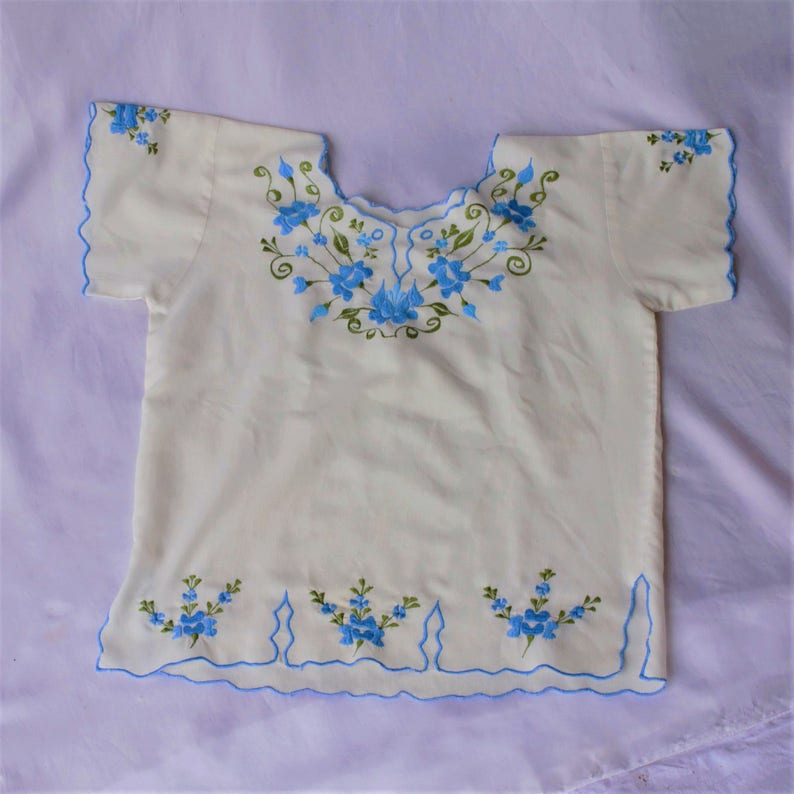 Spectacular SALE Baby Blue Mexican Floral Embroidered Neckline and Hemline Cream Cotton Short Sleeve Slip On Blouse Top Size Small