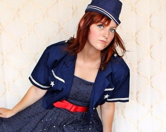 SAVE NOW 50% OFF Vintage Navy Cover up Jacket by Enchante size 8-10