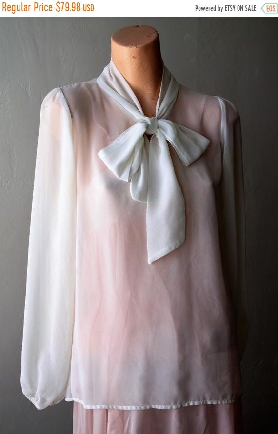 2ec9042cdc786 Sexy 50%OFF Save Now Chiffon Blouse Cream Poet Sleeve Bow