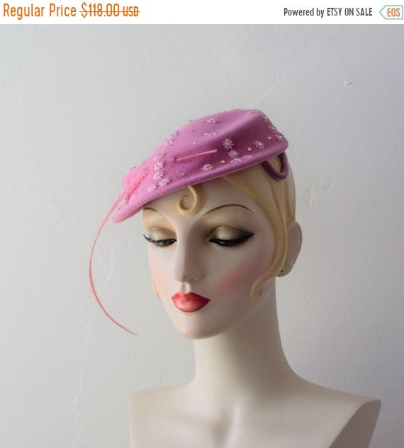 SAVE NOW 50% Off 1940 Hat Pink Fascinator Bridal F