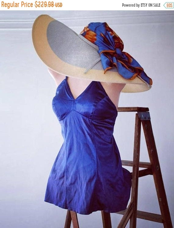 50% Savings Now Haute Couture Royal Blue Swimwear