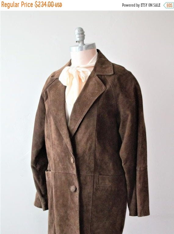 Save Now 50% Off Savings Brown Leather Coat Long L