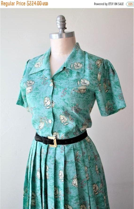 50% Savings Now 1940 Dress Teal Dress Pinch Pleat