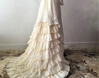 Sexy 30% off Savings NOW Gunne Sax Dress Style Prairie Dress Bishop Sleeve Top Gunne Sax Maxi Dress Tiered Ruffle Train Bustle Ivory Cotton
