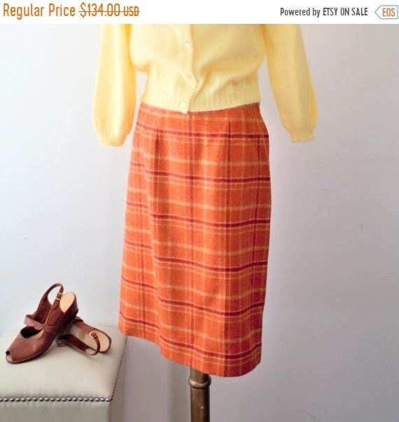 Vintage Scarf Styles -1920s to 1960s Save 50 Now Plaid Skirt Burnt Orange Dress High Waisted Wool Midi 60S Mod Fitte $8.00 AT vintagedancer.com
