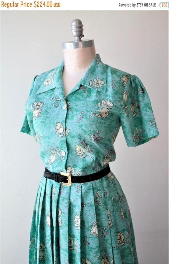 Sexy Sale Save Now 50%off 1940 Dress Teal Dress Pi