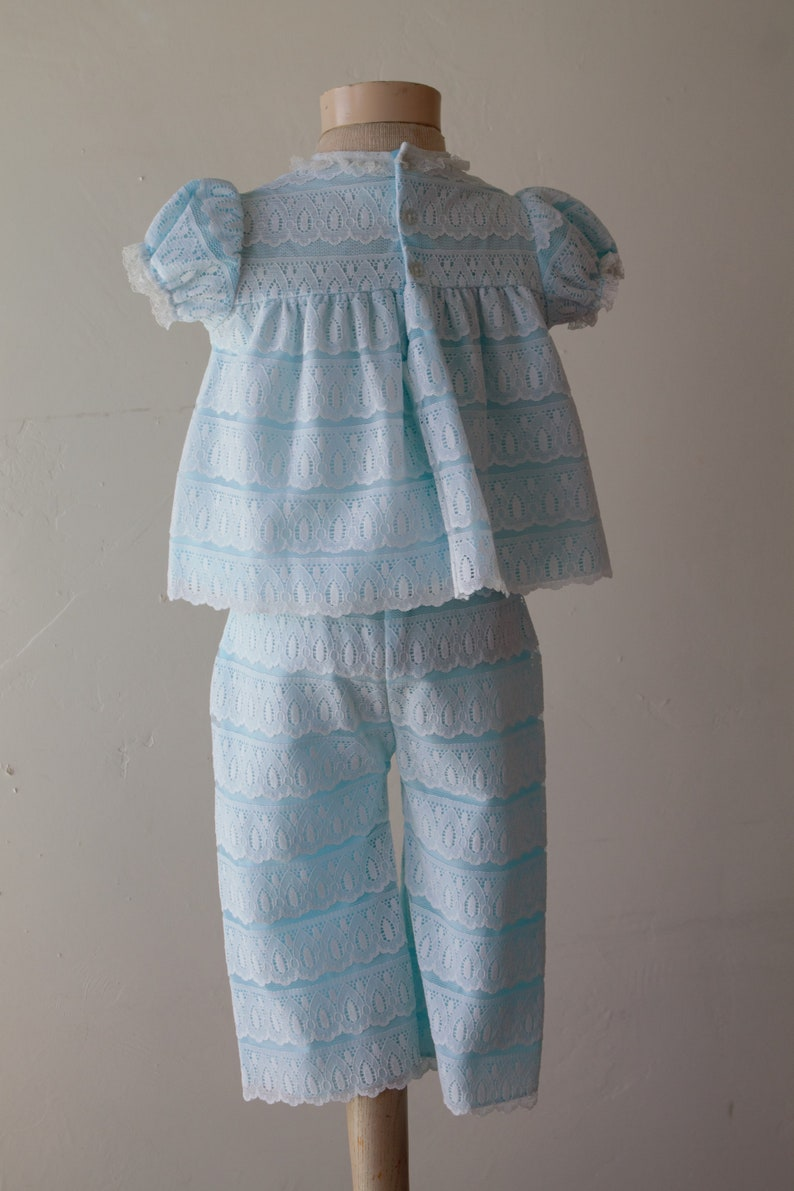 50/%off SAVE NOW Toddler Sundress Set Bell Bottoms Marie Antoinette Style Bo Peep Costume Puff Sleeve Tiered Babydoll Dress Blue White Lace 1