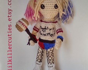 Harley Quinn, a crochet amigurumi doll inspired by the character Harley Quinn from The Suicide Squad movie