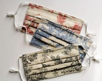 Toile de Jouy Pleated Face Mask, Set Of 3,  With Nose Wire, Filter Pocket, Adjustable Ear Loops and a Fabric Pouch