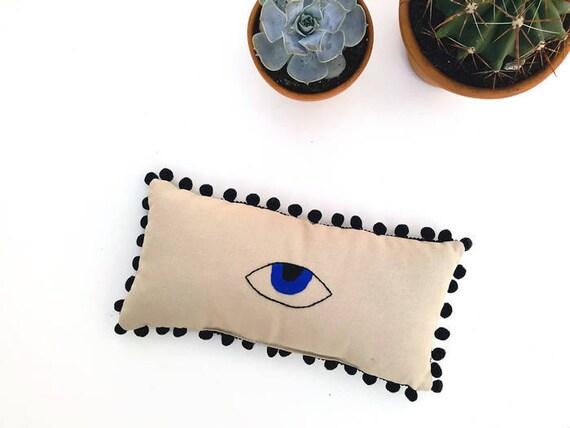 Evil Eye Home Decor Hand Embroidered Mini Lumbar Pom Pom Pillow Good Luck Pillow