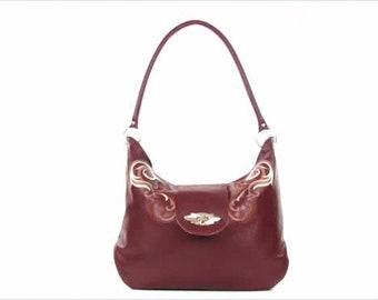 f3155567b8 Large Leather Shoulder Bag - Plum Leather Hobo - Genuine Leather Purse -  Women s Oversize Handbag