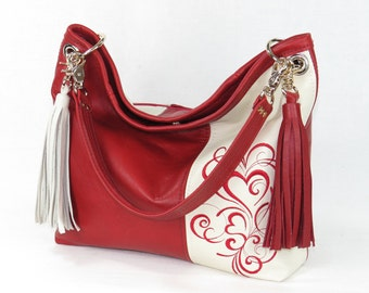 2374613ec2 Valentine Hearts Red and White Slouchy Hobo Leather Bag - Red and White Shoulder  Bag - Valentine s Day Gift for her