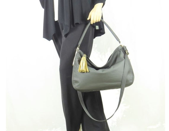 2daa3191e4 Basic Black Leather Slouchy Hobo Black Leather Bag Genuine