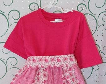 Girl's size 6 Hot Pink Multi-print tunic with sash
