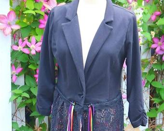 Misses Black Lace Duster Coat