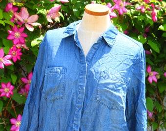 Women's denim and flannel tunic