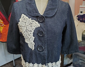REmade Denim Bouquet of Lace flowers jacket
