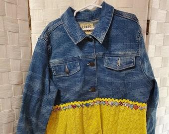 REmade girls denim and yellow eyelet coat dress