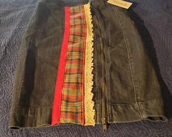 REmade Denim Women's Fall into Plaid zippered skirt