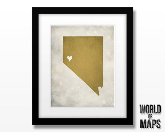 Nevada State Map Art Print Home Town Love Personalized Art Etsy