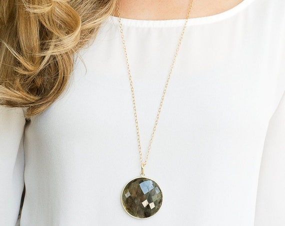 Long Labradorite Pendant Necklace