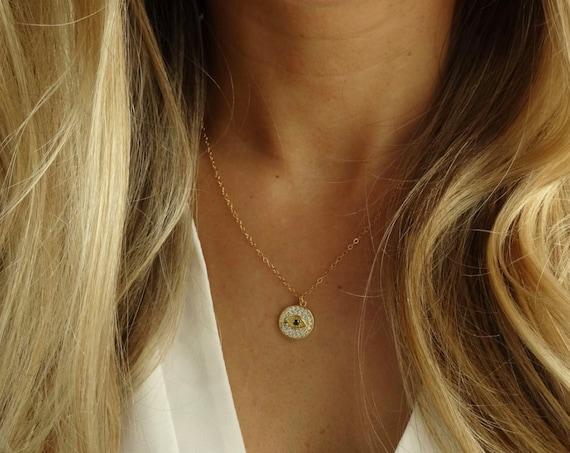 Dainty Gold Evil Eye Necklace