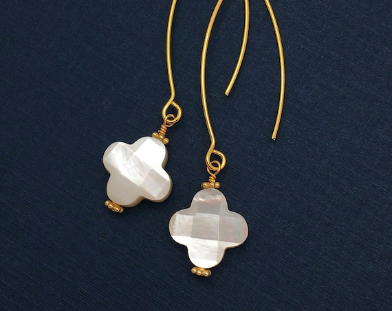 Long Mother of Pearl Clover Earrings