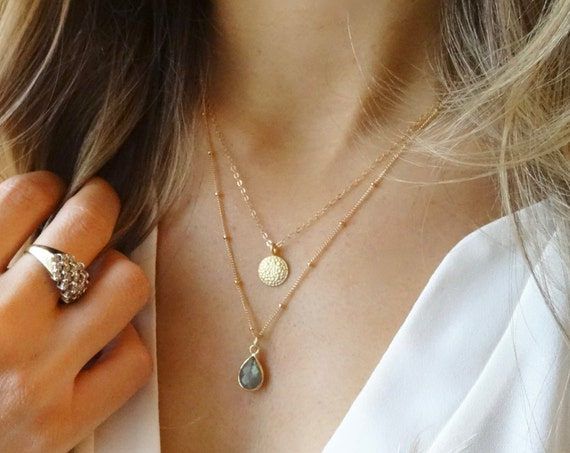 Gold Coin and Labradorite Layer Necklace