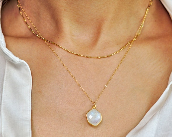 Gold Hexagon Moonstone Pendant Layered Necklace