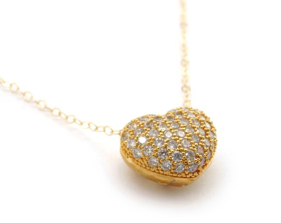 Small CZ Heart Necklace