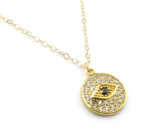 Pave Evil Eye Charm Necklace