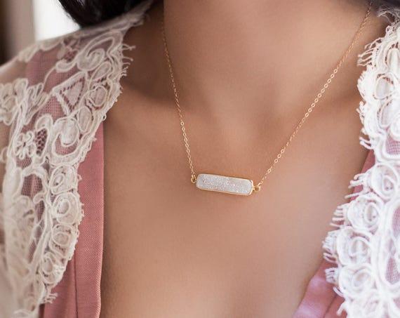 White Druzy Bar Necklace