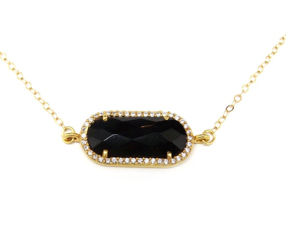 Tiny Black Onyx Suspended Choker Necklace