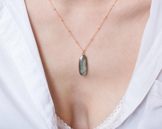 Framed Labradorite Pendant Necklace