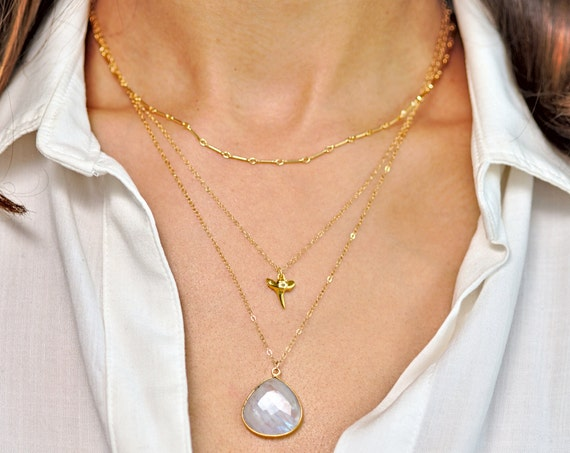 Nautical Moonstone and Shark Tooth Layer Necklace