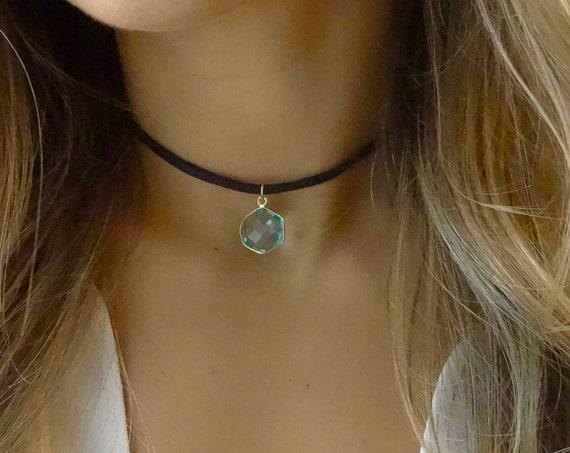Blue Hexagon Choker Necklace