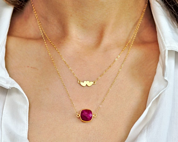 Valentine's Heart and Ruby Layer Necklace