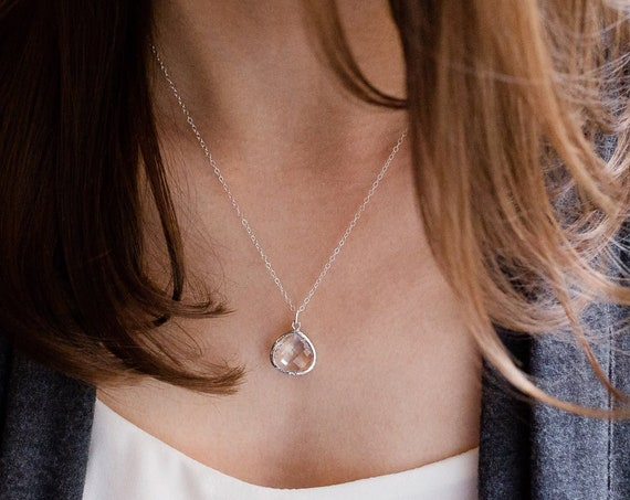 Simple Silver Teardrop Necklace