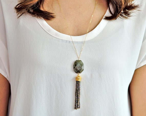 Green Hexagon and Black Beaded Tassel Long Necklace