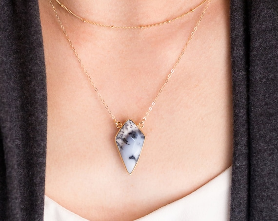 Dendritic Agate Point Necklace