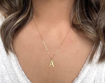 Large Initial Necklace Gold A, Gold Initial Pendant, Monogram Necklace, Gold Letter Necklace, Personalized Necklace, Alphabet Necklace