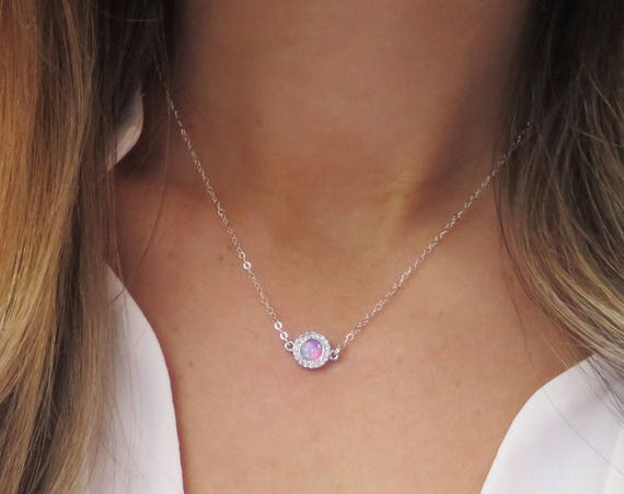 Silver Pave Opal Necklace