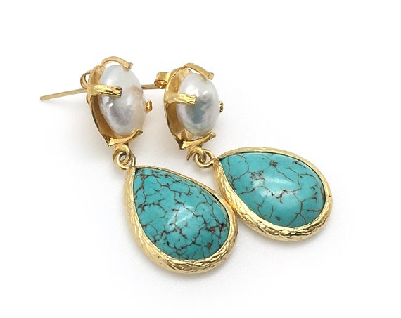 Pearl + Turquoise Earrings