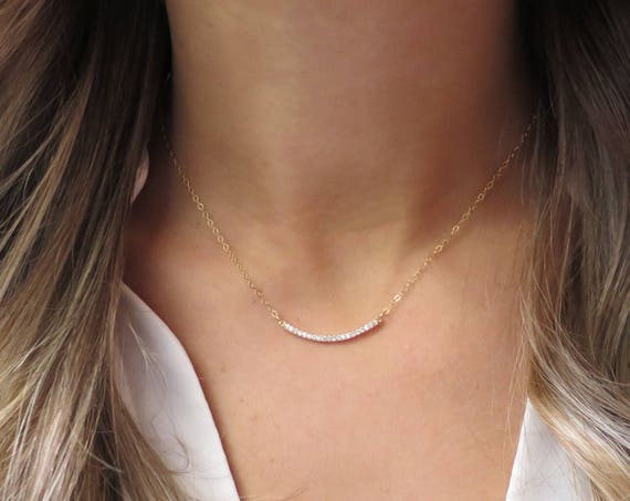 CZ Diamond Bar Necklace