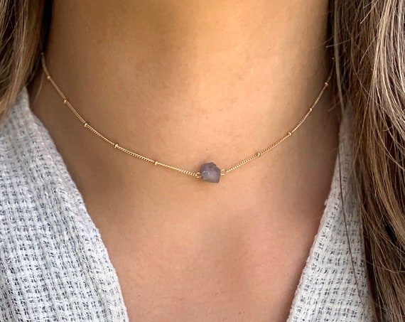 Rough Suspended Gray Quartz Necklace